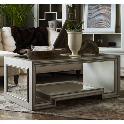 Moderne Coffee Table with Glass Top Color: Classic Studio/Gray Stone, Accent Color: Silver