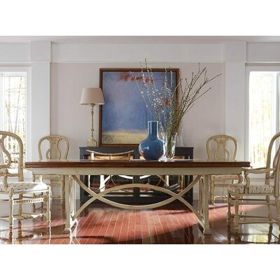 Tribeca Dining Table Color: Connoisseur/Tricorn Black, Accent Color: Champagne