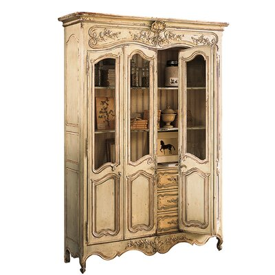 Louis XV China Cabinet Color: Classic Studio - Graystone, Accents: Champagne