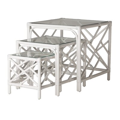 Chippendale 3 Piece Nesting Tables Finish: Bright White