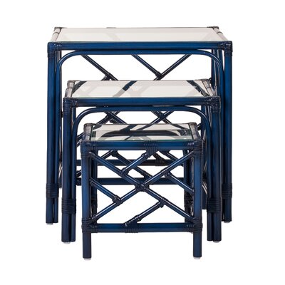 Chippendale 3 Piece Nesting Tables Finish: Navy Blue