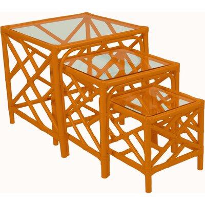 Chippendale 3 Piece Nesting Tables Color: Citrus Orange
