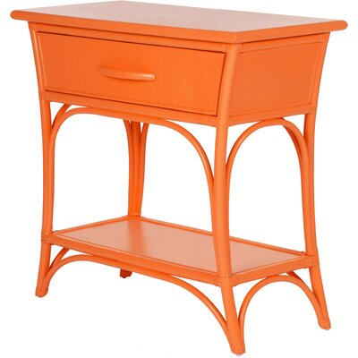 Augustine End Table with Storage Color: Citrus Orange