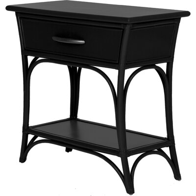 Augustine End Table with Storage Color: Black