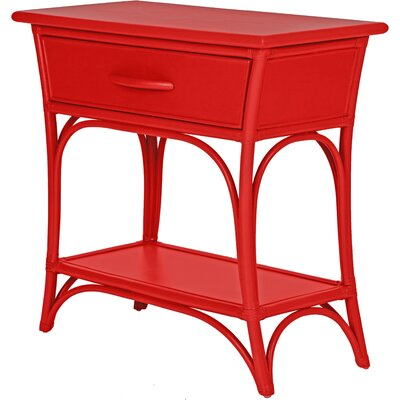 Augustine End Table with Storage Color: Fire Red