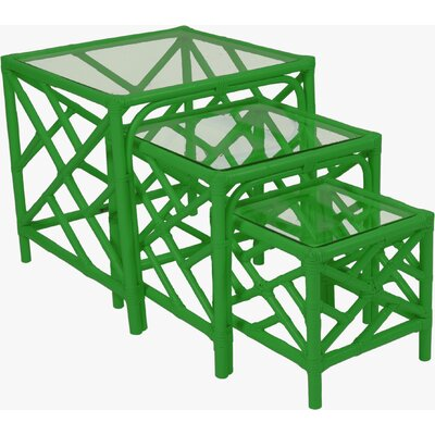Chippendale 3 Piece Nesting Tables Color: Fire Red