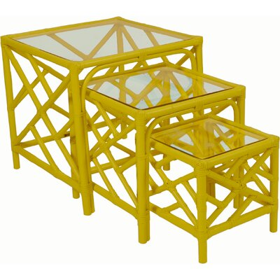 Chippendale 3 Piece Nesting Tables Color: Sunflower Yellow