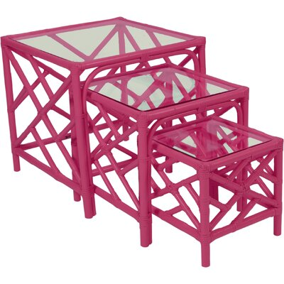 Chippendale 3 Piece Nesting Tables Color: Hot Pink