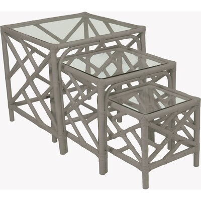 Chippendale 3 Piece Nesting Tables Finish: Steel Gray
