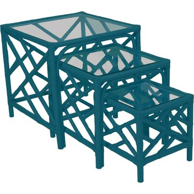 Chippendale 3 Piece Nesting Tables Finish: Pacific Blue