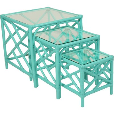 Chippendale 3 Piece Nesting Tables Color: Turquoise