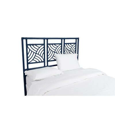 Whirlwind Open-Frame Headboard Color: Navy Blue, Size: King