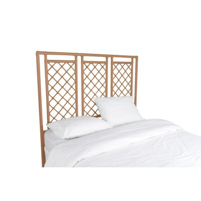 X and Diamond Open-Frame Headboard Color: Camel Brown, Size: Queen