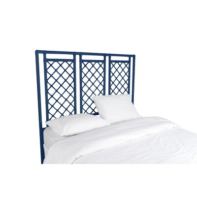 X and Diamond Open-Frame Headboard Color: Navy Blue, Size: Queen