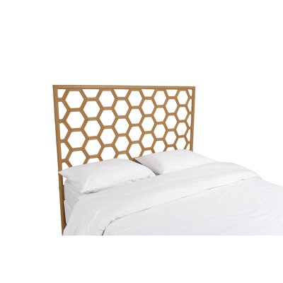 Honeycomb Open-Frame Headboard Color: Camel Brown, Size: King