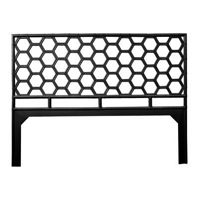 Honeycomb Open-Frame Headboard Color: Black, Size: Queen