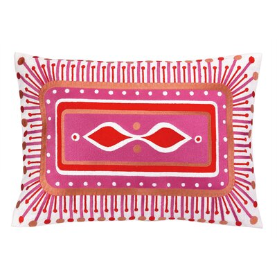 Jennifer Paganelli Embroidered Lumbar Pillow Color: Pink