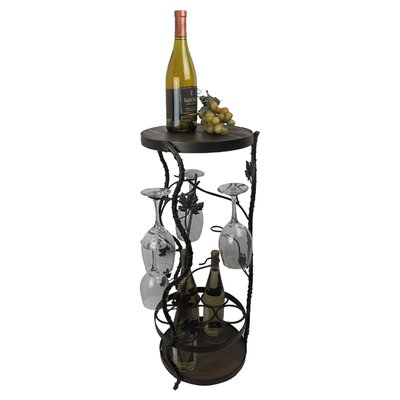 French Vineyard 7 Bottle Floor Wine Rack Finish: Black Meteor