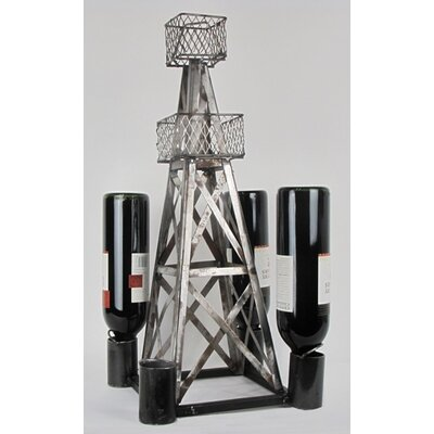 Industrial Evolution Handmade Oil Derrick 4 Bottle Tabletop Wine Rack
