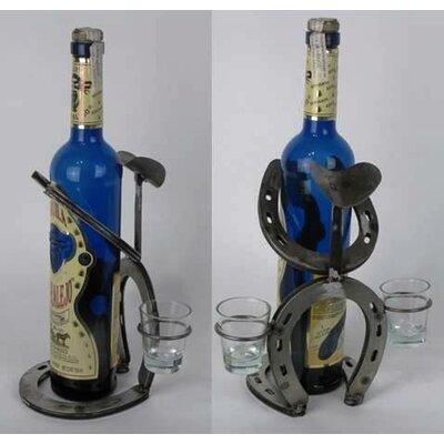Western Heritage Horseshoe Bowlegged Cowboy 1 Bottle Tabletop Wine Rack