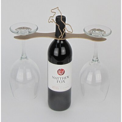 Laser Cut Steel Stall 1 Bottle Tabletop Wine Rack Finish: Gold