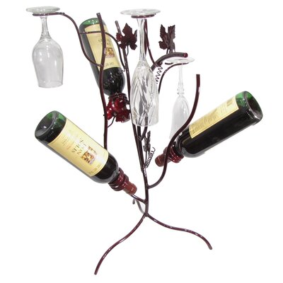 Grapevine Stem Tree 3 Bottle Tabletop Wine Rack Finish: Merlot