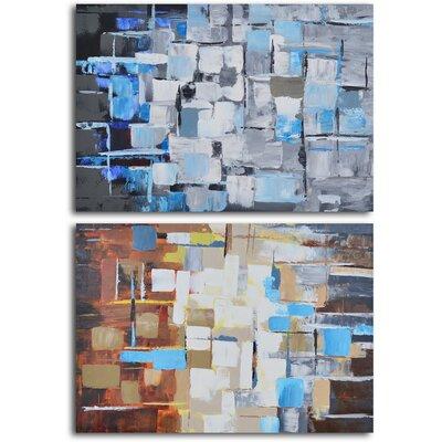 "Seasonal Colour Through Glass"" 2 Piece Original Painting on Wrapped Canvas Set A 0550"