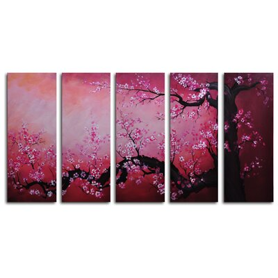 'Cochineal Black Trunked Cherry' 5 Piece Painting Print on Wrapped Canvas Set