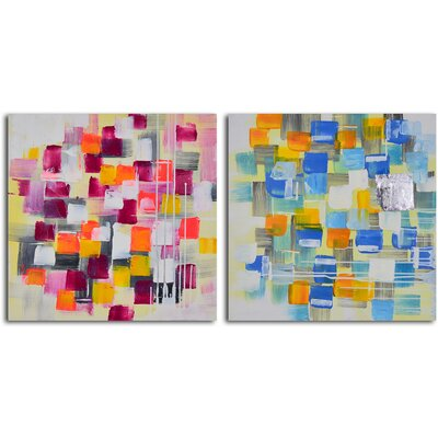 Spotted through Coloured Glasses 2 Piece Orginal Painting on Wrapped Canvas Set A 5058