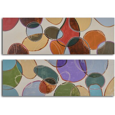 'Coloured Cells at Play' 2 Piece Original Painting on Wrapped Canvas Set A 0559
