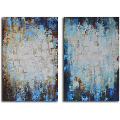 'Through Blues to Light' 2 Piece Painting on Wrapped Canvas Set