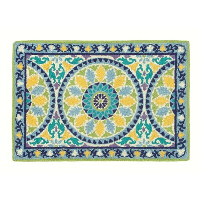 Lisette Cerulean Blue Striped Area Rug Rug Size: 2 x 3