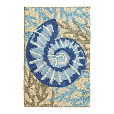 Adrift Hand-Hooked Blue Indoor/Outdoor Area Rug