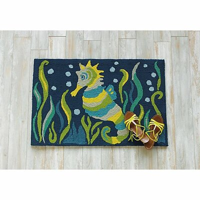 Seahorse Hand-Hooked Blue Area Rug