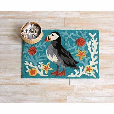Hand-Hooked Turquoise Indoor/Outdoor Area Rug