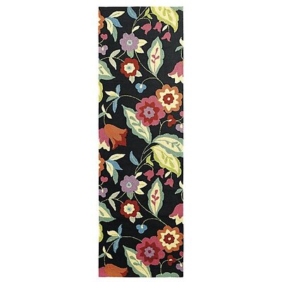 Samantha Black Indoor/Outdoor Area Rug Rug Size: Runner 26 x 8