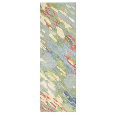 Reflections Hand-Tufted Blue/Green Indoor Area Rug Rug Size: Runner 2'6