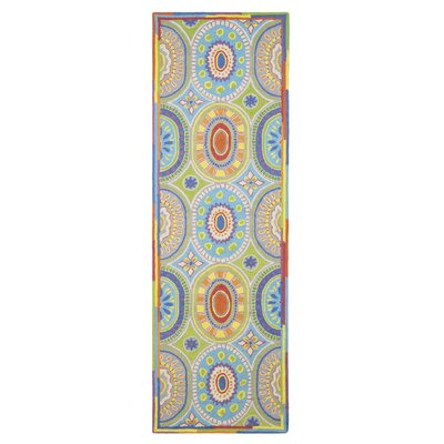 High Jinks Blue/Yellow/Green Indoor Area Rug Rug Size: Runner 26 x 8