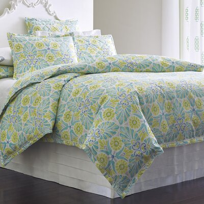 Painted Medallions Lake Duvet Cover Size: King