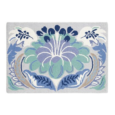 Passionflower Blue Area Rug Rug Size: Rectangle 2 x 3