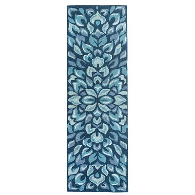 Petal Pusher Mineral Blue Indoor/Outdoor Area Rug Rug Size: Runner 26 x 8