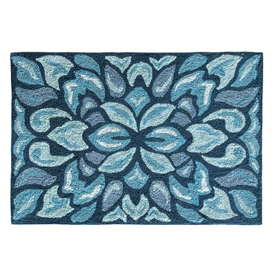 Petal Pusher Mineral Blue Indoor/Outdoor Area Rug Rug Size: 36 x 56