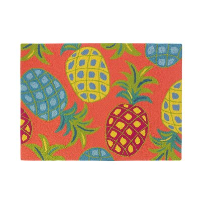 Pineapples Coral Indoor/Outdoor Area Rug Rug Size: 36 x 56