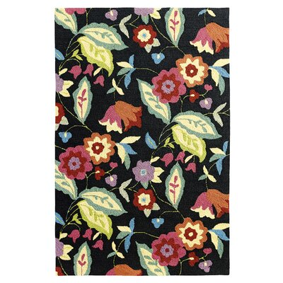 Samantha Black Indoor/Outdoor Area Rug Rug Size: 5 x 8