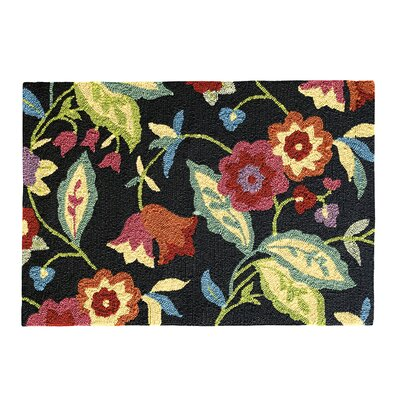 Samantha Black Indoor/Outdoor Area Rug Rug Size: 36 x 56