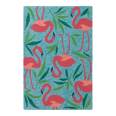 Fancy Flamingo Aqua Indoor/Outdoor Area Rug Rug Size: 5 x 8