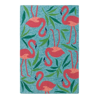 Fancy Flamingo Aqua Indoor/Outdoor Area Rug Rug Size: Rectangle 8 x 10