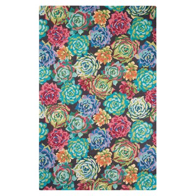 Succulents Hand-Hooked Aqua Area Rug Rug Size: Rectangle 5 x 8