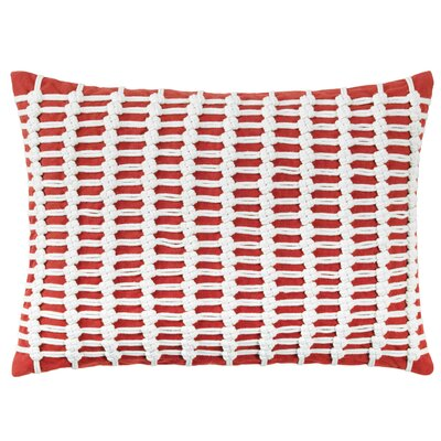 Macrame Cotton Lumbar Pillow Color: Newport Red