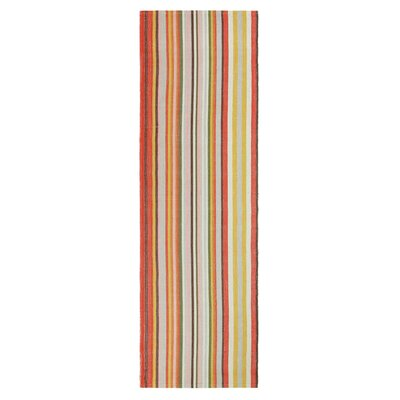Martini Stripe Hand-Woven Coral Indoor/Outdoor Area Rug Rug Size: Runner 26 x 8